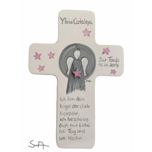 Schutzengelkreuz für Mädchen Taufkreuz, Kinderkreuz Geschenk zur Taufe / Geburt/Kommunion