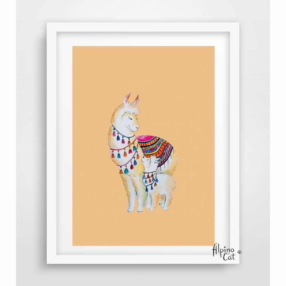 Lama Poster ☀ Mama Lama und Baby Lama ☀ Digitaldruck A4, 250 g/m2  Bild 1