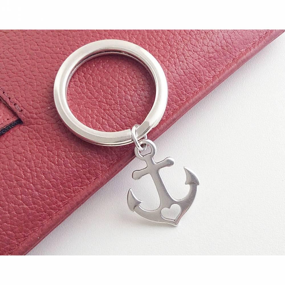 Schlüsselanhänger mit Herzanker versilbert Bild 1