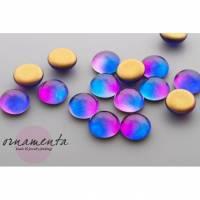 6 Glascabochons ~ 10mm ~ magenta/blau ~ ombre ~ Material zur Schmuckherstellung Bild 1