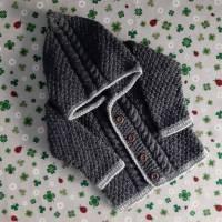 Strickjacke mit Kapuze Größe 80/86 Pullover Jacke Kapuzenpulli Hoodie Taufe Janker Trachtenjacke Trachtenmode Baby Kind Zopfmuster Geburt Bild 1