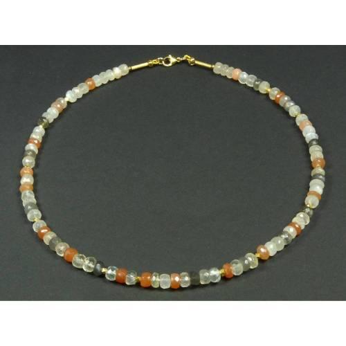 Edelstein-Kette, dreifarbiger Mondstein mit vergoldeten Elementen