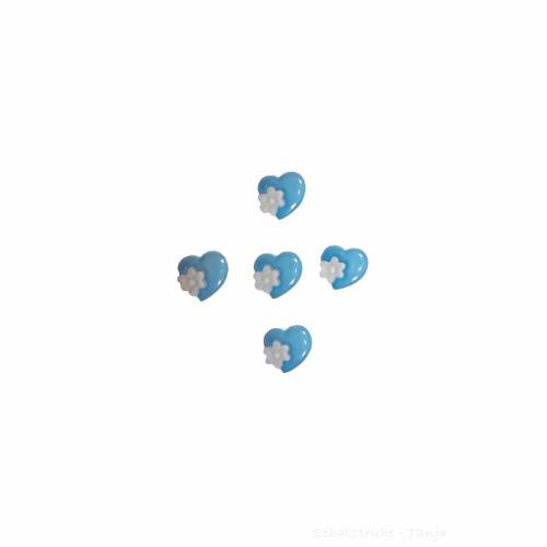 Kinderknöpfe Herzen als Kunststoffknöpfe in dunkelblau 15 mm