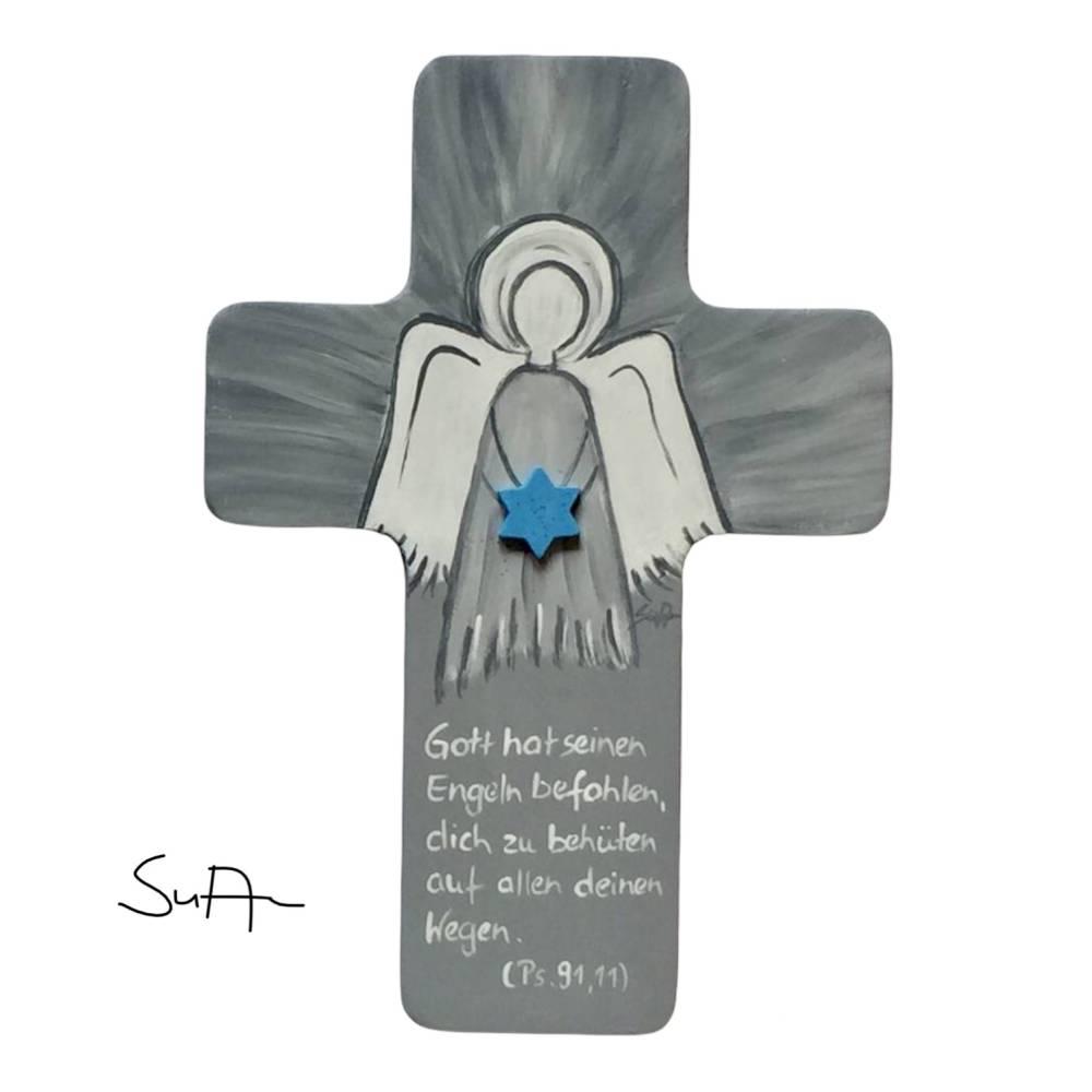 Schutzengelkreuz für Jungs Taufkreuz, Kinderkreuz Geschenk zur Taufe / Geburt Bild 1