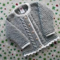 Trachtenjacke Größe 92/98 für mädchen grau weiß geschenk zum geburtstag pullover mit zopfmuster kleid dirndl geschenk  Bild 1