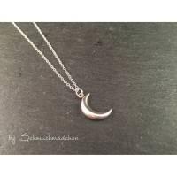 Kette Silber Schlicht Mond - kurze filigrane silberfarbene Kette mit Mondanhänger Bild 1