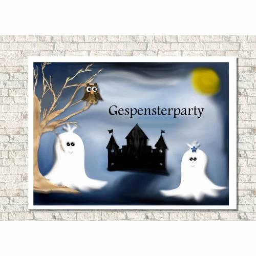 Einladungskarten Kindergeburtstag  Geister, personalisiert