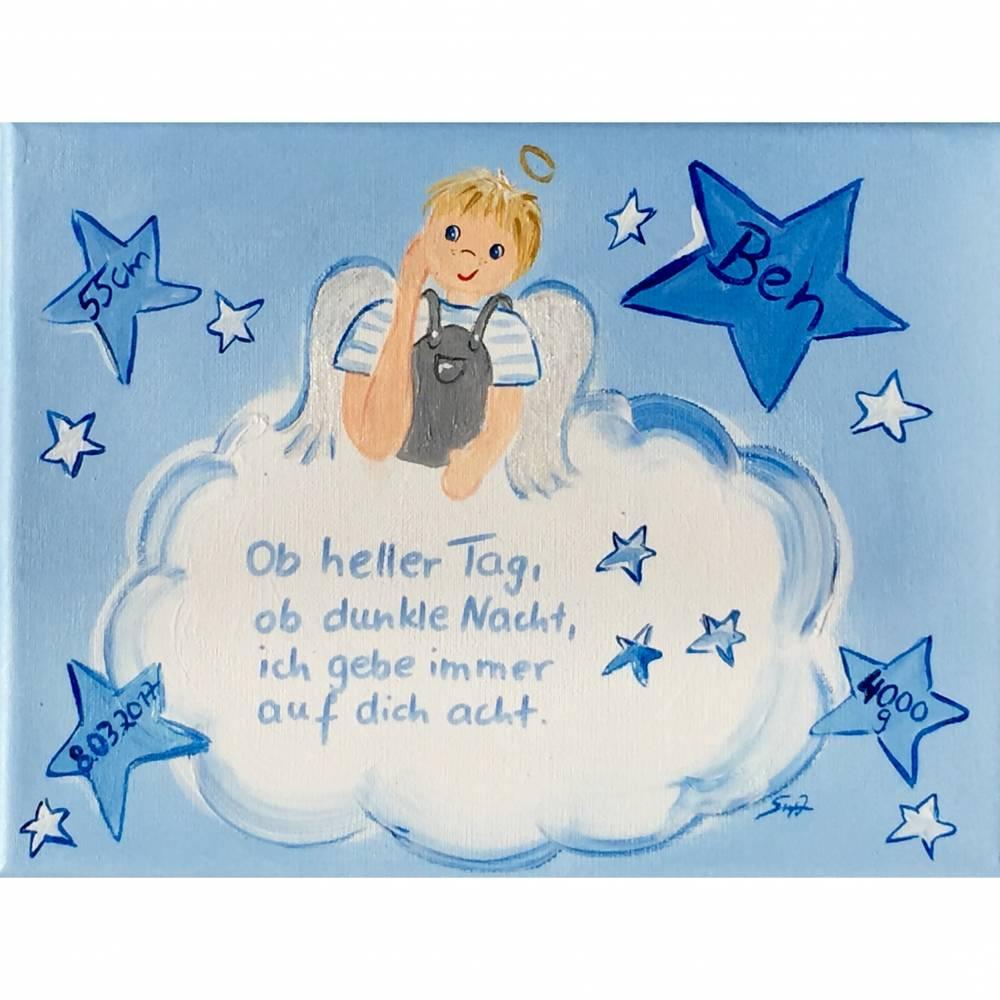 Schutzengelbild Schutzengel Bild für Jungen zur Taufe Geburt Bild 1