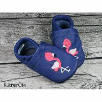 Krabbelpuschen aus Leder mit Flamingo und Namen ab Gr. 18/19 - Lederpuschen Bild 1