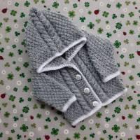 Strickjacke mit Kapuze ab Größe 50/56 bis Größe 98/104 trachtenjacke für mädchen pullover mit zopfmuster kapuzenpulli jacke taufkleidung Bild 1