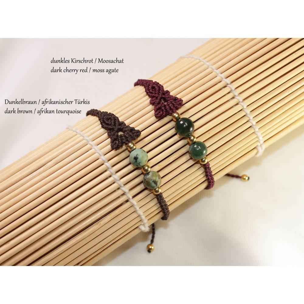Asymmetrisches Makramee Armband Edelstein Perlen, Geschenk für Freundin, personalisierbares Freundschaftsarmband Bild 1