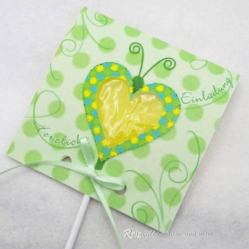 Kindergeburtstag Geburtstag Herz-Lolli-Einladung Schmetterling hellgrün