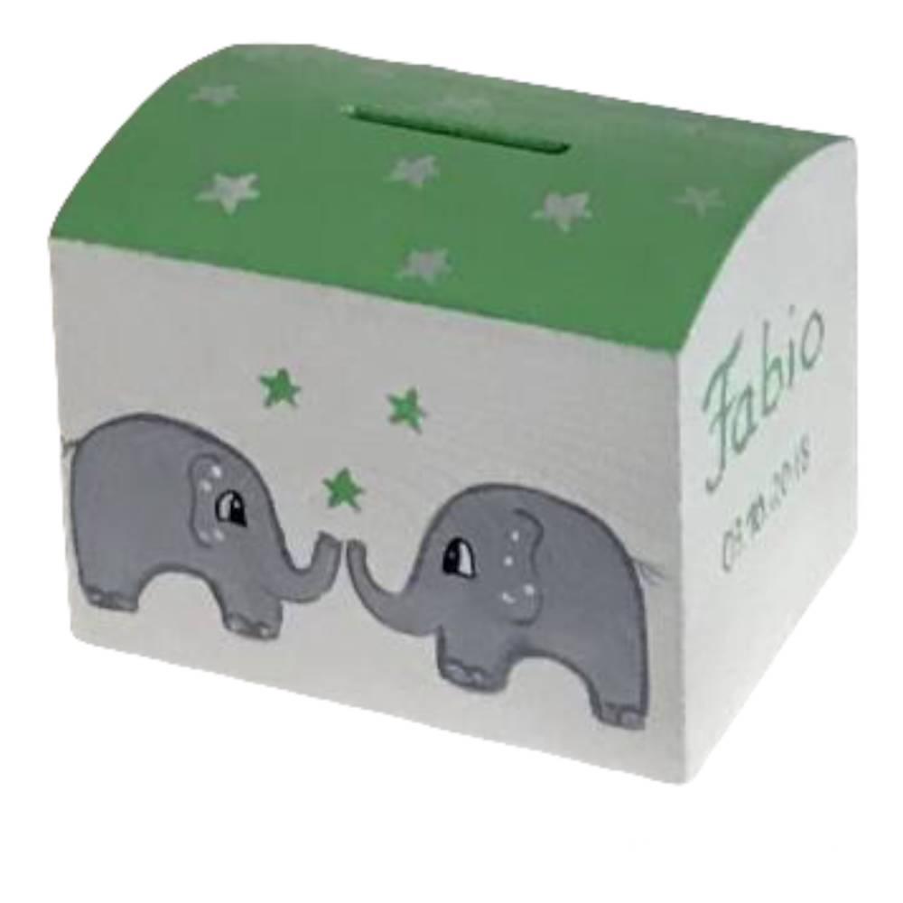 """Holzspardose Spardose zur Taufe Kommunion Geburt """"Elefanten"""" mint-grau Bild 1"""