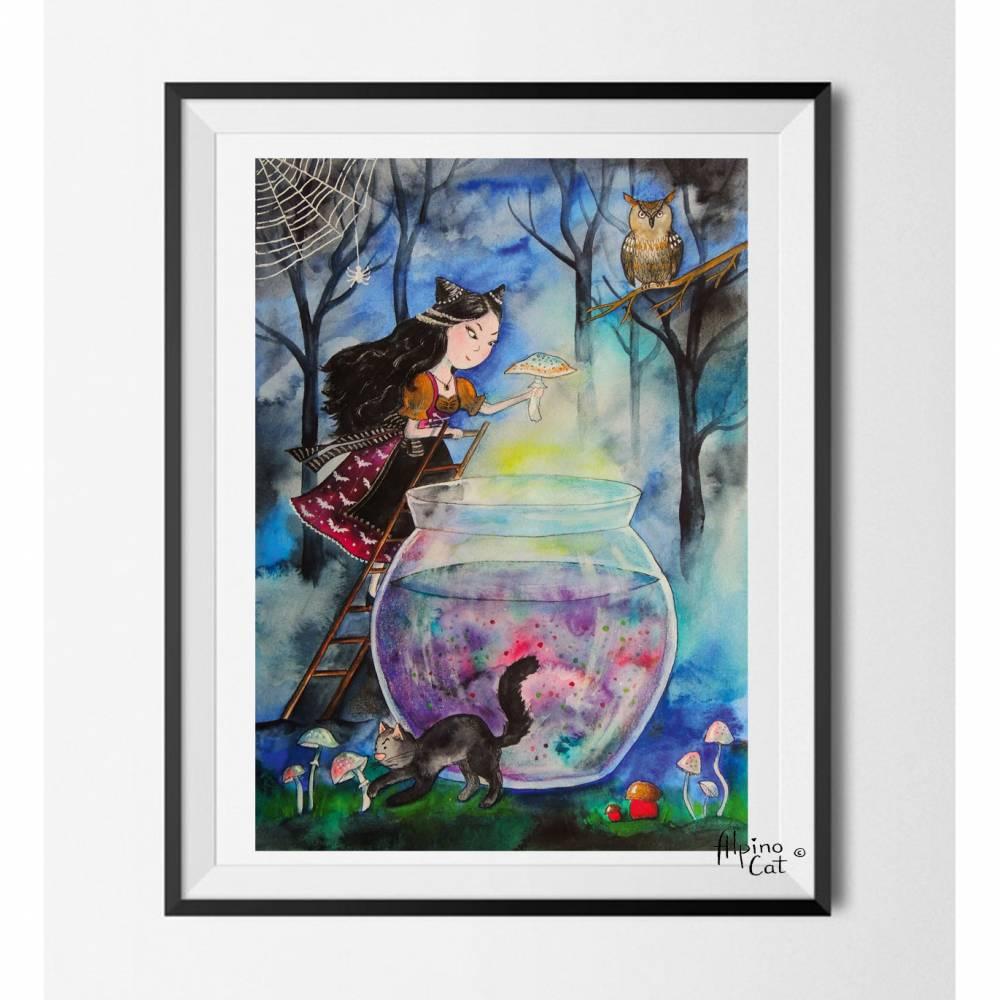 Hexe und die Katze  Digitaldruck A4  300 g/m2 Bild 1