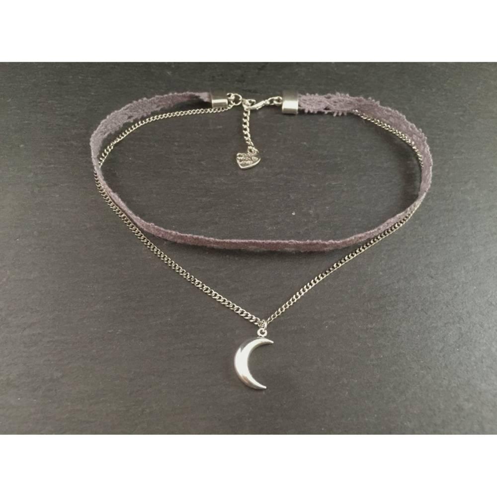 Kette Choker Grau Silber Mond Bild 1