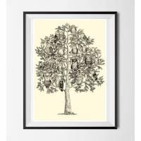 Eulen Poster ☆ Eulen Baum Bild, Digitaldruck A4, 300 g/m2