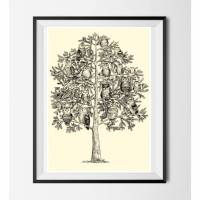 Eulen Poster ☆ Eulen Baum Bild, Digitaldruck A4, 300 g/m2 Bild 1
