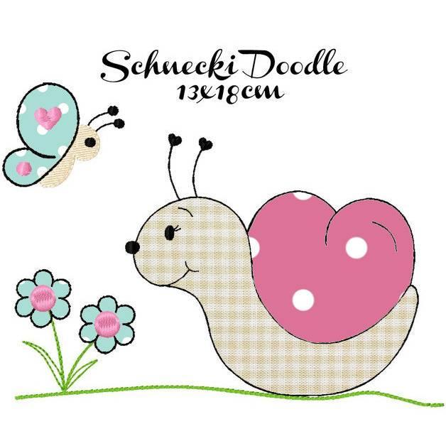 digitale Stickdatei Schnecki Doodle 13x18cm Bild 1