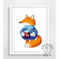 Fuchs Poster, Fuchs mit einer Tasse Tee, kleiner Fuchs Bild, Digitaldruck A4, 300g/m2