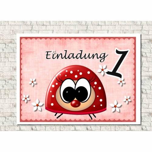 Einladungskarten Kindergeburtstag  Käfer personalisiert
