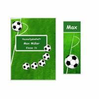 Set Heftumschlag A5, Schutzhülle  für Hausaufgabenheft /Schulheft mit Lesezeichen, Fußball, Name  Schulkind Bild 1