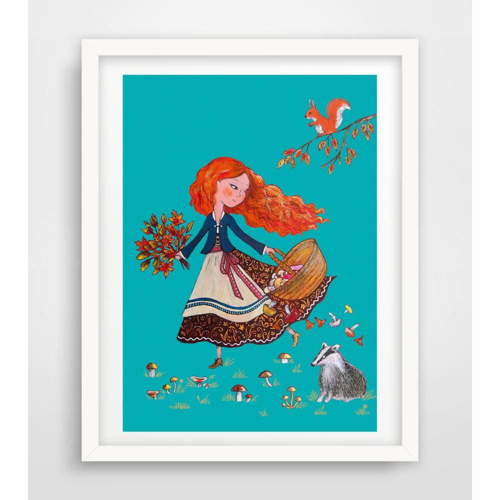 Mädchen im Wald  Herbstbild  Digitaldruck A4, 300 g/m2 Bild 1