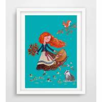 Mädchen im Wald ☀ Herbstbild ☀ Digitaldruck A4, 300 g/m2