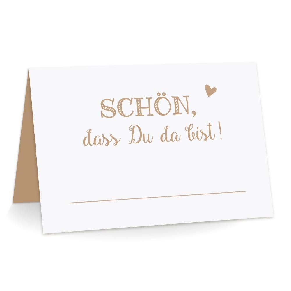 Premium Tischkarten Schön dass Du da Bist mit Herz in braun - Platzkarten zum selbst Beschriften - Namenskarten Hochzeit, Geburtstag, Konfirmation, Kommunion Bild 1