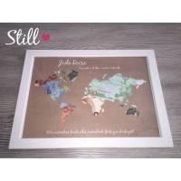 Geldgeschenk *Weltkarte* Vintage mit Rahmen zur Hochzeit Bild 1