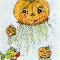 Halloween Kürbisqualle handgemalt Minibild 80 x 110 mm Aquarell laminiert niedliche Deko Lesezeichen crazy Karte Bild 1