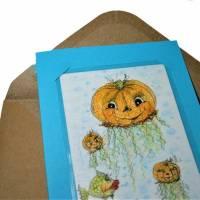 Halloween Kürbisqualle handgemalt Minibild 80 x 110 mm Aquarell laminiert niedliche Deko Lesezeichen crazy Karte Bild 2