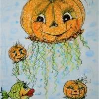 Halloween Kürbisqualle handgemalt Minibild 80 x 110 mm Aquarell laminiert niedliche Deko Lesezeichen crazy Karte Bild 3