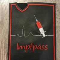 Sofortkauf! Impfpasshülle aus echtem Leder Herzlinie, Spritze und Pieks-Pass Bild 1