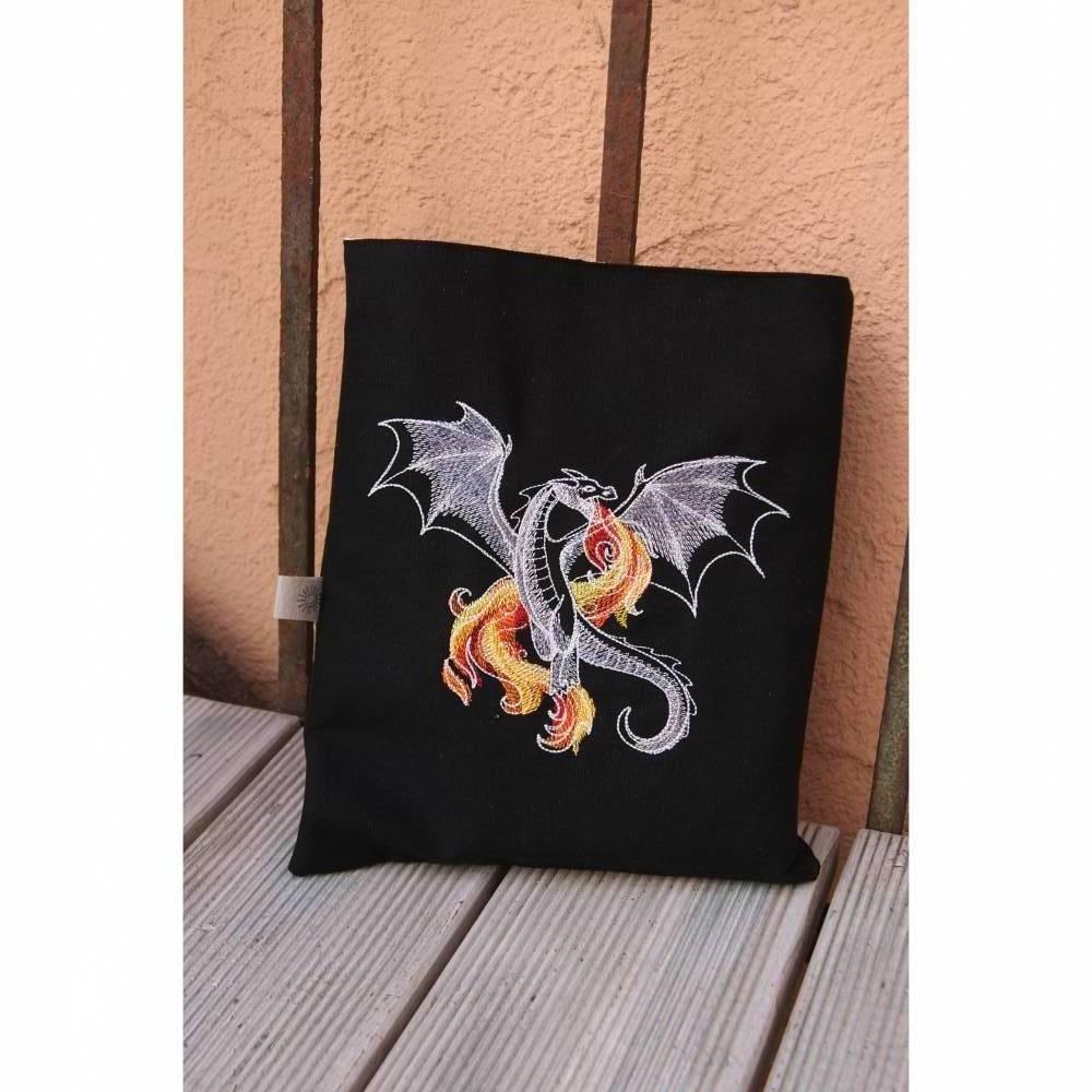 Buchhülle, Buchtasche mit Stickerei, Booksleeve Drachen Bild 1