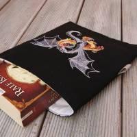 Buchhülle, Buchtasche mit Stickerei, Booksleeve Drachen Bild 3