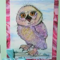 Kunstkarte handgemacht Eule als hochwertige Klapp Karte mit Schleife Bild 1