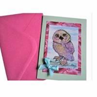 Kunstkarte handgemacht Eule als hochwertige Klapp Karte mit Schleife Bild 3