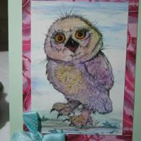 Kunstkarte handgemacht Eule als hochwertige Klapp Karte mit Schleife Bild 4