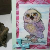 Kunstkarte handgemacht Eule als hochwertige Klapp Karte mit Schleife Bild 5