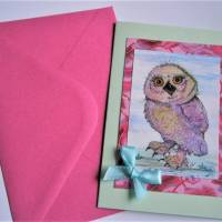 Kunstkarte handgemacht Eule als hochwertige Klapp Karte mit Schleife Bild 6