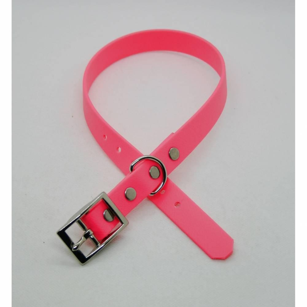 Biothane-Halsband - neonpink  Bild 1