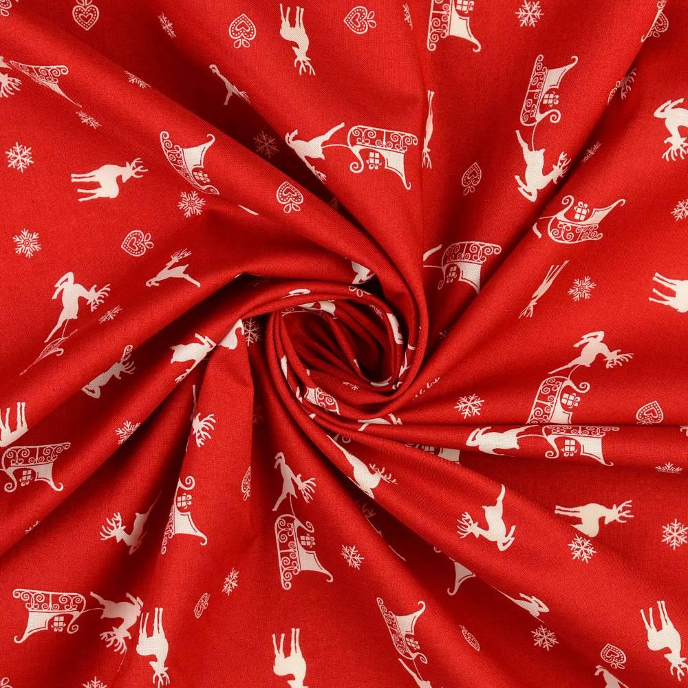 Weihnachtsstoff Baumwolle Popeline Rentier m. Schlitten rot-weiß (1m/10,-€)  Bild 1