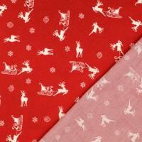 Weihnachtsstoff Baumwolle Popeline Rentier m. Schlitten rot-weiß (1m/10,-€)  Bild 2