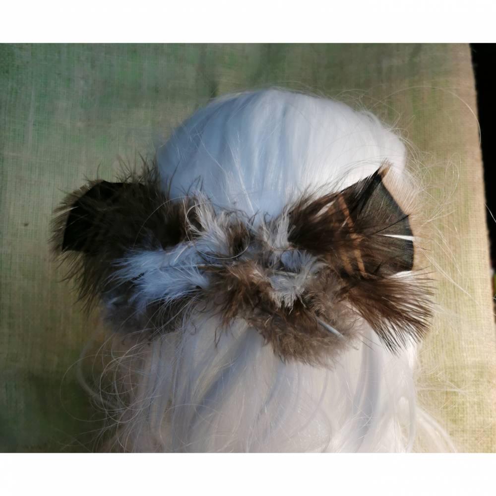 Haarspange, Feder-Haarschmuck, mit echten Federn (HS15)  Bild 1