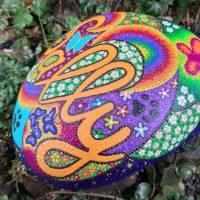 Grabstein JOY handbemalt 25 - 30 cm  Acrylfarbe & - lack, wetterfest & UV beständig Bild 3