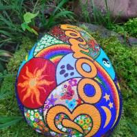 Grabstein JOY handbemalt 25 - 30 cm  Acrylfarbe & - lack, wetterfest & UV beständig Bild 6