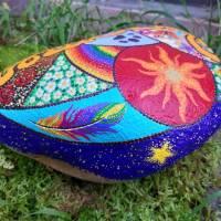 Grabstein JOY handbemalt 25 - 30 cm  Acrylfarbe & - lack, wetterfest & UV beständig Bild 7