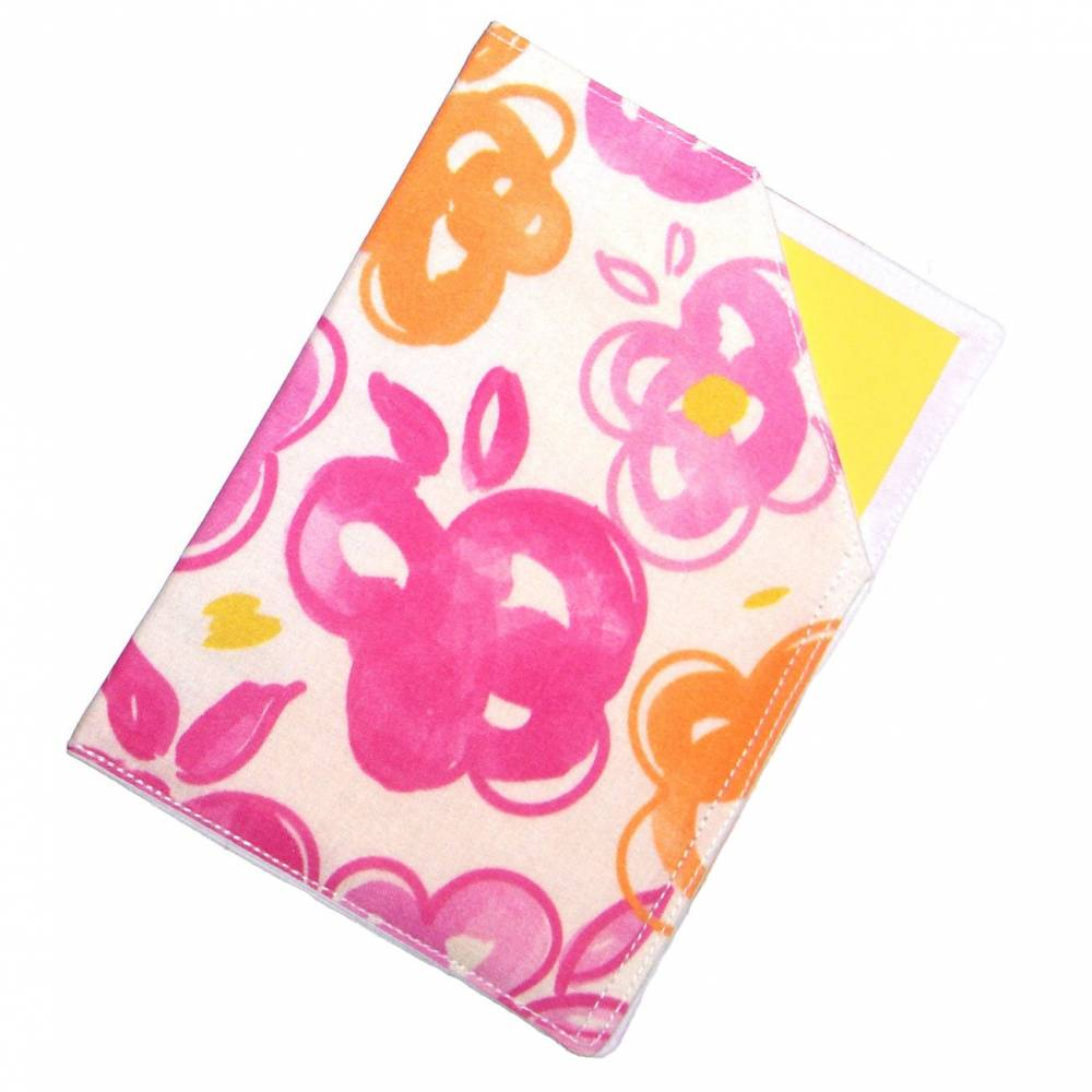 """Impfpasshülle """"Blumen Orange Pink"""" aus Baumwollstoff, waschbar - Impfausweishülle - Impfpassetui - Schutzhülle Bild 1"""