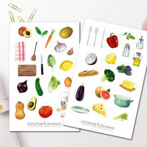 Kochen Sticker Set - Aufkleber Kochbuch, Journal Sticker, Obst und Gemüse Sticker, Bullet Journal Sticker, Sticker Rezep Bild 1