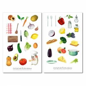Kochen Sticker Set - Aufkleber Kochbuch, Journal Sticker, Obst und Gemüse Sticker, Bullet Journal Sticker, Sticker Rezep Bild 2